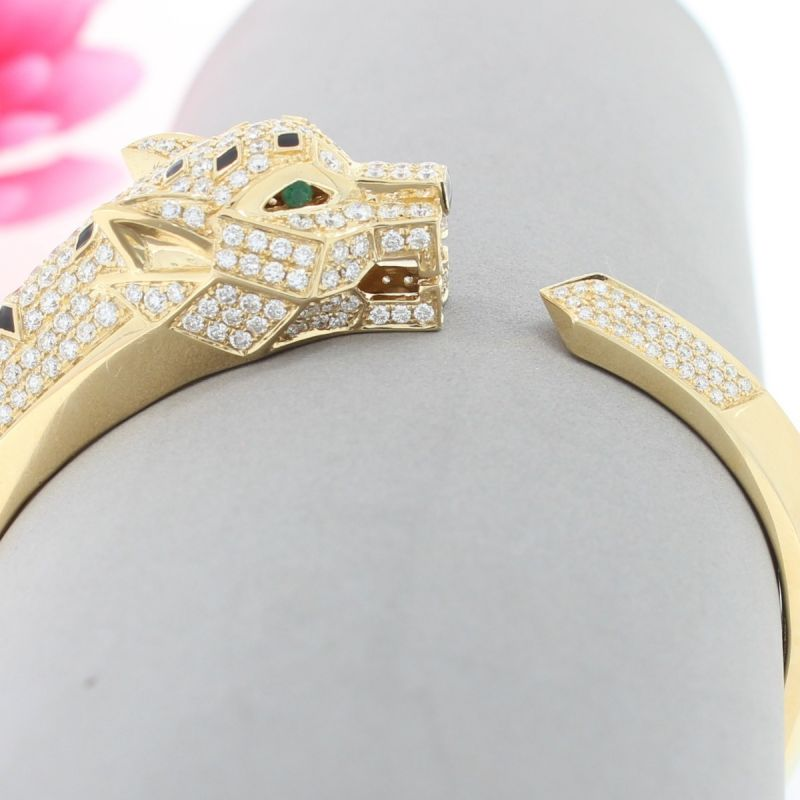 Wert 21690 € Brillant Smaragd Armreif Raubkatze in 750er 18 K Gold - 67466