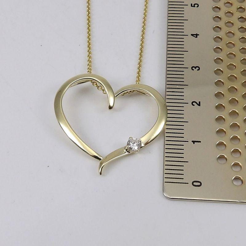 Wert 1190 € Brillant Anhänger mit Kette Herz in 585er 14 K Gelbgold Länge 42 + 45,5 cm - H571
