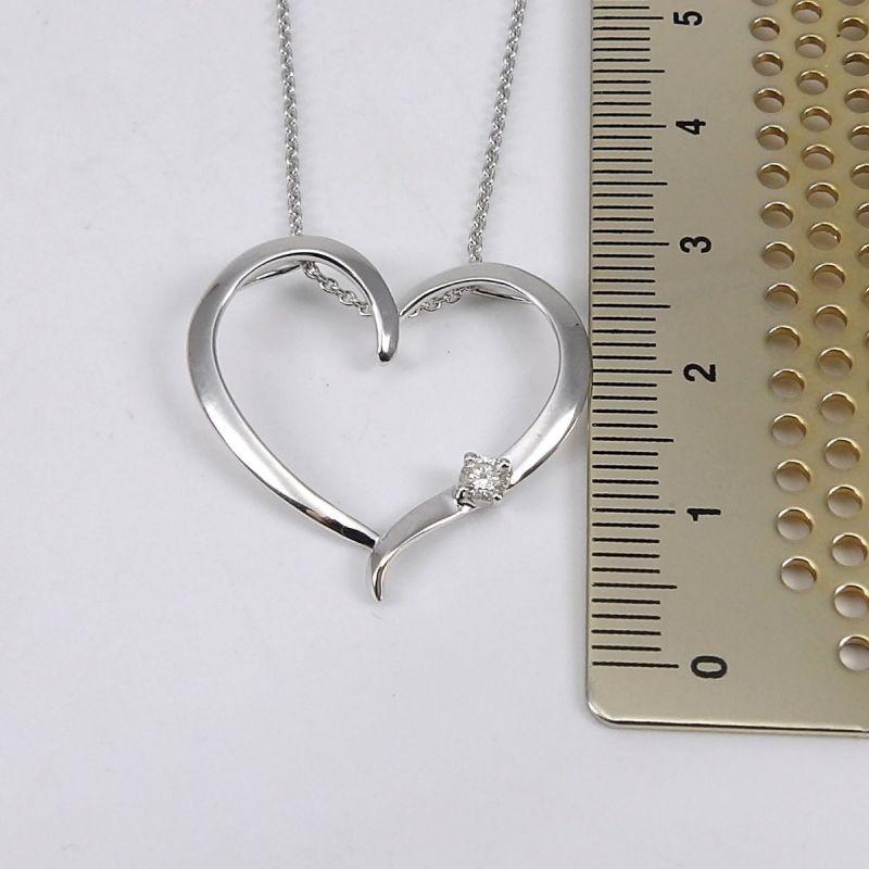 Wert 1190 € Brillant Anhänger mit Kette Herz in 585er 14 K Weißgold Länge 42 + 45,5 cm - H563