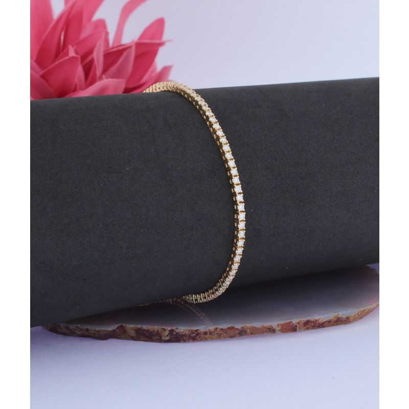 Wert 6700 € Brillant Tennis Armband (2,00 carat) in 750er 18 K Gelbgold Länge 18 cm H644