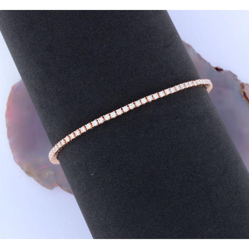 Wert 6700 € Brillant Tennis Armband (2,00 carat) in 750er 18 K Roségold Länge 19 cm - H641