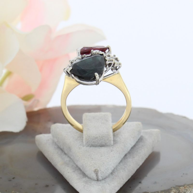 Wert 2200 € Brillant Saphir Rubellit Ring in 750er 18 K Gelbgold - 69027
